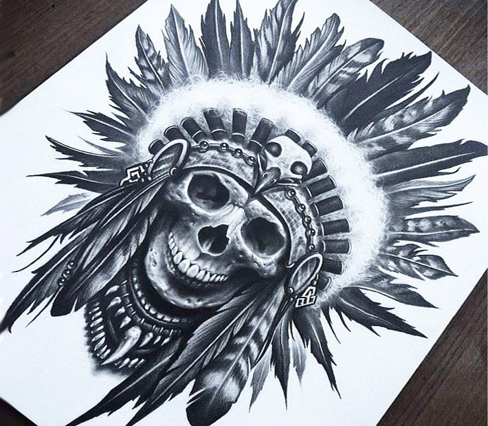 Indian skull drawing by Brandon Herrera
