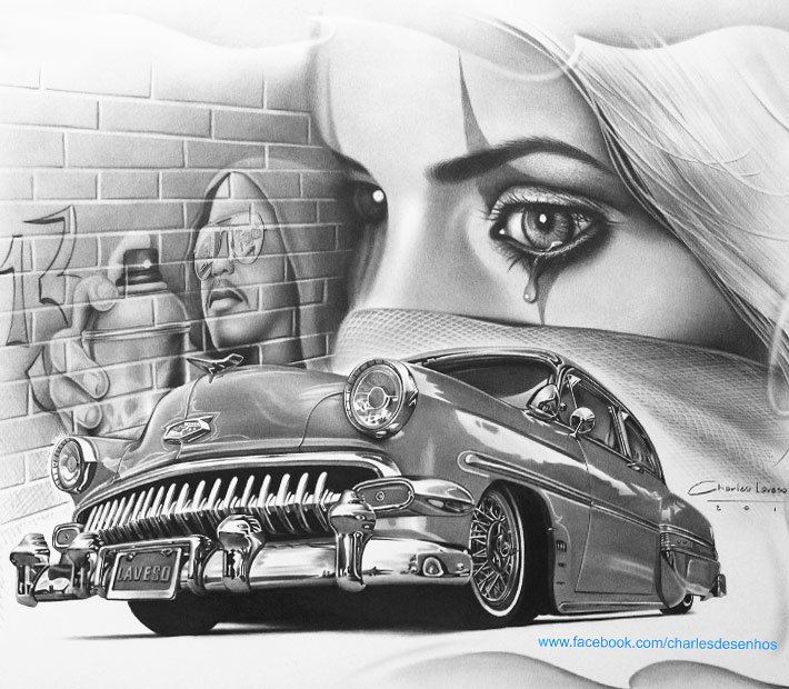 American Muscle Car >> Black and gray pencil drawing by Charles Laveso