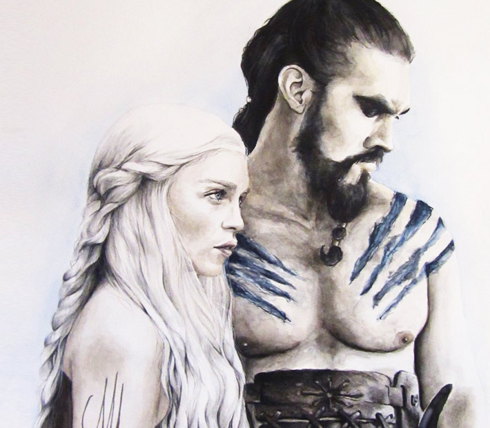 Daenerys and Khal Drogo by Cynthia Mueller