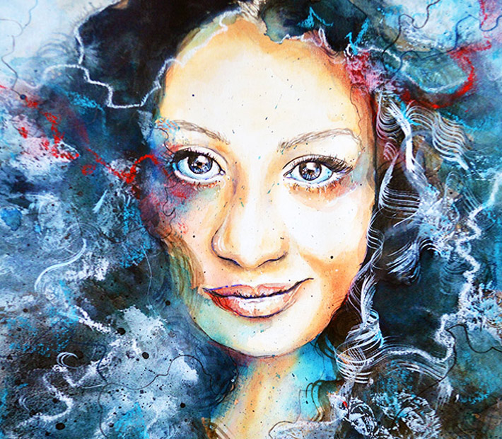 Diva watercolor painting by Jane Beata