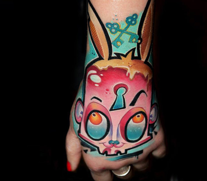 Rabbit hand tattoo by Lehel Nyeste