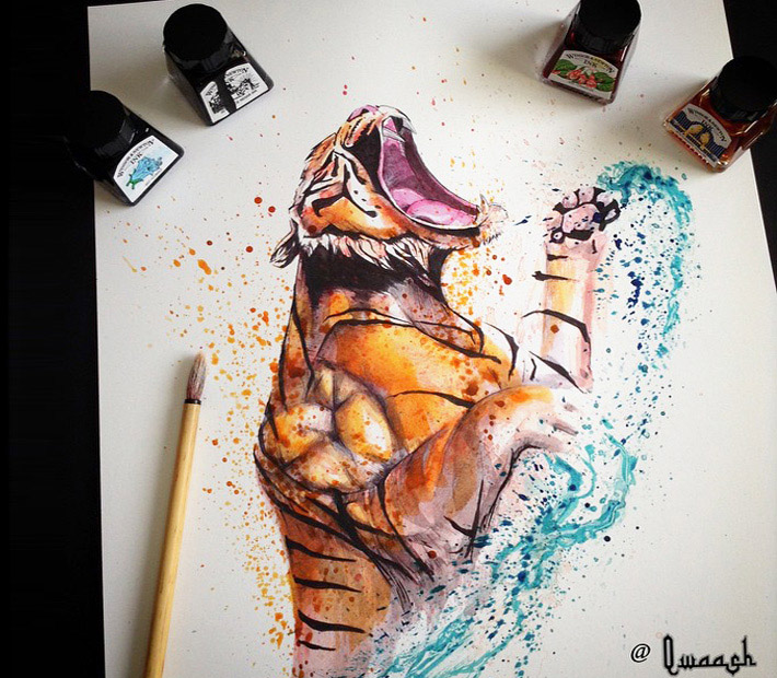Tiger painting by Qwaash Art, UK