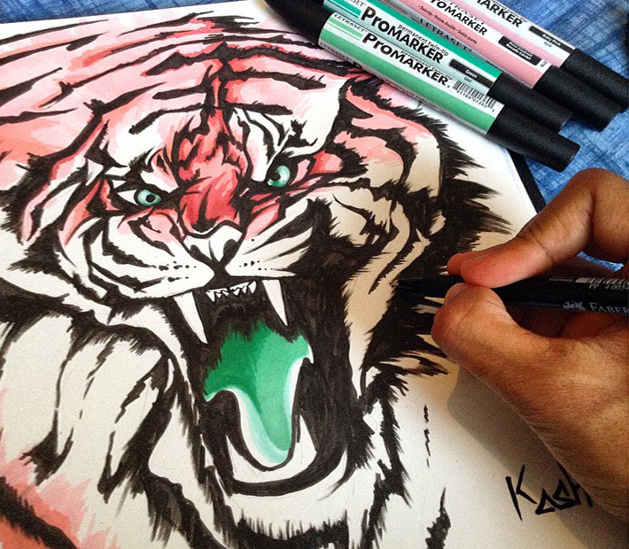 Tiger drawing by Qwaash Art