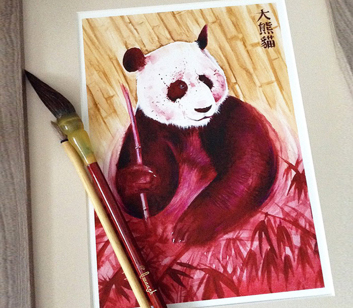 Panda painting by Qwaash Art