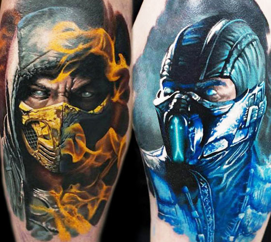 Mortal Kombat fan art tattoo by Denis Sivak
